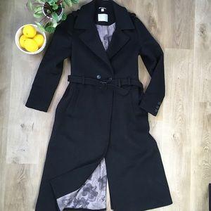SOIA & KYO Long Black Wool Coat size Large